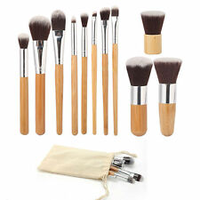 11Pcs Bamboo Handle Cosmetic Makeup Brush Set Foundation Blush Soft Brushes Kit#