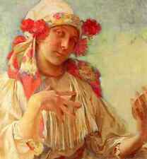 Mucha Alphonse Maria Young Girl In A Moravian Costume A4 Print