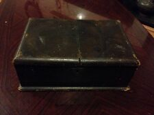Beautiful Antique Leatherette Covered Wooden Box