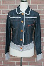 JOHNNY GIRLS WOMENS WESTERN TYPE DENIM JACKET WITH EMBROIDERY JUNIOR M RARE