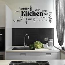 Kitchen Words Phrases Wall Art Sticker Quote Decal Mural Stencil Transfer Decor