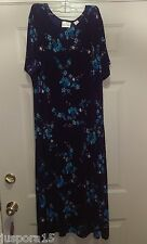 Fashion Bug Woman's Plus Light/Dark Blue/Green Floral Dress Size 22/24