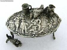 Antique Continetal 800 Silver Figural Scene Minature Roccoco Table with Cat