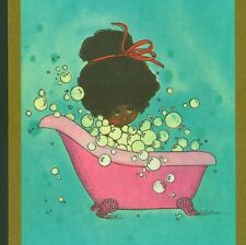 RARE..! BLACK,AFRO-AMERICAN NEGRO GIRL IN BUBBLE BATH,OLD GET WELL GREETING CARD