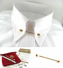 Gold Tone Collar Tie Pin Bar 46mm Barbell Ball Ended + 10 Eyelets & Punch Tool