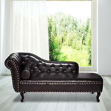 Deluxe Vintage Style Faux Leather Chaise Longue Lounge Sofa Bed Bolster Cushion