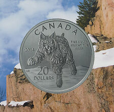 2014 Canada $20 Bobcat Commemorative .9999 Fine $20for$20 Silver coin COA dollar
