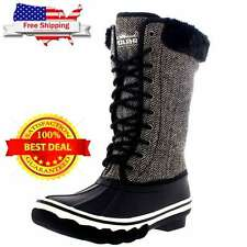 Women's Boots Winter Shoes Fur Warm Snow Calf Size 9 Insulated Waterproof GREY
