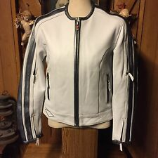 Power Trip Leather Motorcycle Jacket Woman's White S Spaceage Euro