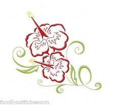 Art Deco Hawaiian Flowers 10 Machine Embroidery Designs on CD in 4 sizes