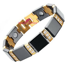 Black & Gold Tungsten Carbide Magnetic Bracelet Bio Energy Arthritis Wristband