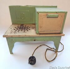Vintage Kingston 1930 Childs Electric Toy Stove #407X Green Cream