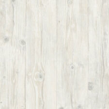 Faux  White with Touches of Beige Washed Wood Planks Wallpaper LL29501