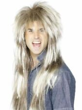 Mens Blonde Mega Mullet Wig Brown 80's Stag Rock Star Fancy Dress Festival