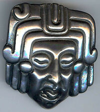 M. VELAZQUEZ VINTAGE MEXICO STERLING SILVER MAYAN RULER HEAD PIN