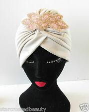 Nude Cream Pink Turban Vintage Flapper 1920s 30s Headpiece Bead Great Gatsby Q17