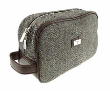 Harris Tweed Brown Herringbone Wash bag/Cosmetic Bag  LB2102 COL7