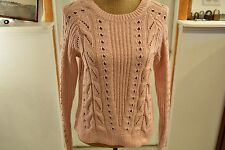 Women's Light Pink Lucky Brand cable Knit Light Pink Sweater XS NWT New