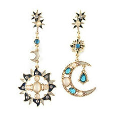 Women Fashion Korean Style Star Sun Moon Rhinestone Stud Dangle Earrings Steady