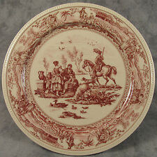 "RED & CREAM TRANSFERWARE FRENCH COUNTRYSIDE SCENIC TOILE PLATE ~10""~"