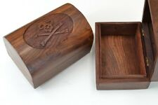 2 PCS HANDMADE CARVED PIRATE TREASURE CHEST JEWELRY WOOD BOX #F-63L