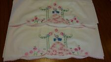 Pair of Vintage Southern Belle Pillowcases Hand Crochet Hand Embroidered Lovely