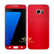 SopiGuard Carbon Fiber Brushed Front + Back Skin Samsung Galaxy S7 Edge GS7 Edge