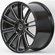 4 GWG Wheels 20 inch Black Laser Mill FLOW Rims fits 5X112 AUDI A8L 2004 - 2010