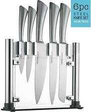 Kitch N' Wares Stainless Steel Knife Set With Acrylic Stand (Set of 6)