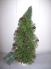 "9"" Long Needle, Bottle Brush Tree with Red Balls & Silver Glitter - Bethany Lowe"