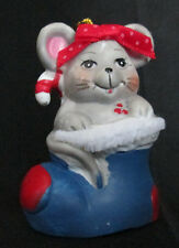 Holly Bells Mouse Handcrafted Painted Porcelain Bell Ornament Giftco Taiwan Box