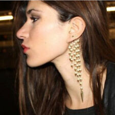 1X Tassel Ear Clip Rivet Chain Earrings Cuffs Clip On Ears Jewelry For Girls