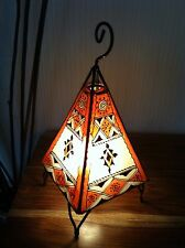 Painted Moroccan Henna Table / Floor Lamp- Pyramid- Orange&Cream 38 cm