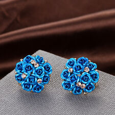 Women Elegant Rose Flower Crystal Rhinestone Ear Stud Earring Fashion Jewelry