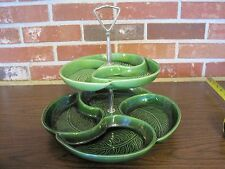 VINTAGE CERAMIC / PORCELAIN GREEN 2 TIER SERVING TRAY -- MADE IN USA