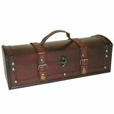 Long Treasure Chest Box - Dark Stain Wood Leather Strap Buckle - Gift Jewellery