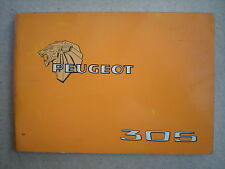 PEUGEOT 305 Manuel de bord 1980 Utilisation entretien GL GR SR