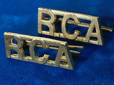 RCA Royal Canadian Artillery Armed forces of CANADA brass shoulder board titles