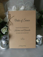 ORDER OF SERVICE COVERS, WEDDING RUSTIC VINTAGE x 10 FREE POSTAGE