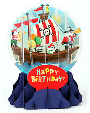 3D Pop Up Snow Globe greeting card by Up with Paper - Pirate Dogs Birthday #001
