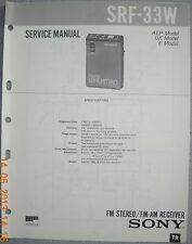 SONY SRF-33W 2-Band Radio Service Manual