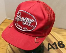 VINTAGE RANGER BOATS HAT WITH FISH HOOKS ON BILL SNAPBACK MADE IN CANADA RED VGC