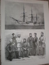Printed photo Germany Navy Training Ship Gneisenau wrecked off malaga Spain 1900