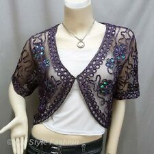 Sequined Embroidery Shrug Glam Bolero Top Purple M
