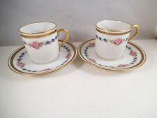 Vintage Pair of L Bernadaud Limoges France Demitasse Cups & Saucers Pink Roses