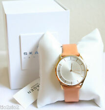 NWT SKAGEN Women's Holst Slim Analog Gold Tone Light Brown Leather Watch SKW2344
