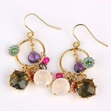 Les Nereides THERE ARE MORE SEASONS MULTICOLOR STONES AND FLOWERS EARRINGS