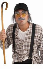 Old Man Costume Kit Hat with Fake Hair Moustache Eyebrows Glasses Mustache NEW