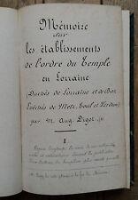 TEMPLIERS et HOSPITALIERS en LORRAINE - DIGOT - MERLE - ouvrage manuscirt 1870
