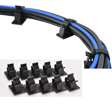 10pcs Plastic Self Adhesive Wire Cord Cable Clip Holder Clamps Black